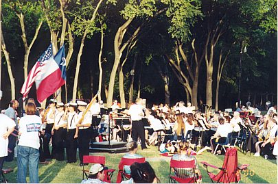 View of Color Guard and the Austin Symphonic Band